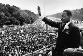 "Martin Luther King Jr. giving his famous ""I have a dream"" speech."