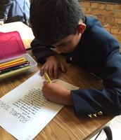 Composing prayers in Ms. Olson's class