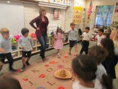 Learning the Mexican Hat Dance in Mrs. Heupler's class