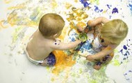 "Babies ""painting"" together"