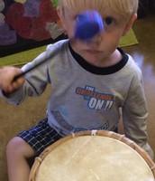 Sebastian loves the drums