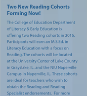 NIU Reading Specialist Masters Degree Cohorts Forming
