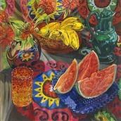 Watermelon, Bananas, Suzani