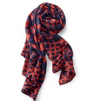 SOLD Scarf Navy Red Medallion $30