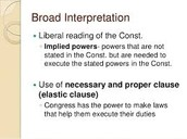 Broad interpretation of Constitution