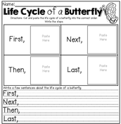 Butterfly Life Cycle Activity Page