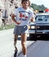 Terry Fox running during his Marathon of Hope