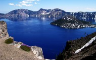 A view from a cliff at Crater Lake