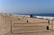 Sand: Manhattan Beach volleyball nets