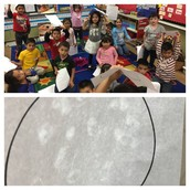 Ms. Stone's Kinder Panthers show off their moons they created while studying space!
