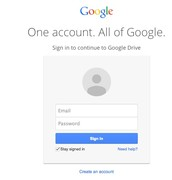 Log in Window for Google Drive