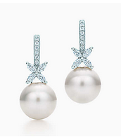 Tiffany Victoria™ earrings in platinum with South Sea pearls and diamonds.