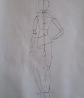 Contrapost houding tekening met lijnen