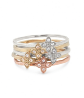 Moraley Stacked Flower Rings (set of 5)