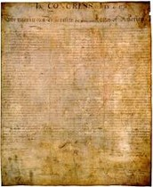The Declaration of Independence signed.