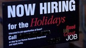 Hiring for holidays sign