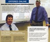 Online Instruction Endorsement Online through Clarion University