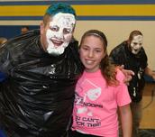 Mr. Wojo Blue hair and pie with Sydnie.