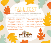 Fall Fest for RV and ELC Families