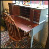 SOLD-Slate Blue & Solid Cherry Mid-Century Writing Desk: $375