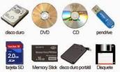 Dispositivos de almacenamiento (primarios y secundarios).