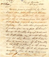 Letter from Sam Houston ordering the archives to be brought to the city of Houston immediately