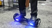 riding the hover board with the lights on