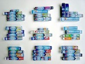 Many different kids of crest toothpaste