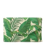 City Slim Clutch in Natural Green Botanicals