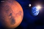 MARS , EARTH AND MOON