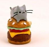 Pusheen Cat on Burger Figurine