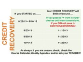 Credit Recovery DEADLINES