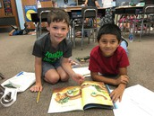 Reading with a buddy & working on retelling a story!