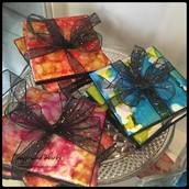 Hand-Painted Coasters (set of 4)  by Sadie: $45