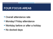Attendance - 4 Focus Areas