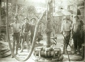 H.G Damon , Ralph Beaton and John Galey strike it rich on Spindletop hill in Bomont,TX