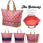 The Getaway Tote, Navy/Red Medallion (RETIRED)