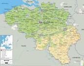 Physical Map of Belgium