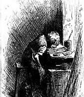 """Illustration by Fred Bernard of Dickens working at a factory after his father had been sent to the Marshalsea."