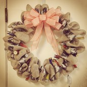 Burlap with Shotgun Shell Wreath
