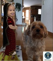 World's Shortest Woman standing next to my dog!