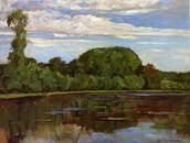 Geinrust Farm with Isolated Tree. Oil on canvas.