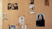 ANNE FRANK (1929-1945). - German Jewish diarist. Detail of wall in her bedroom in secret annex, Amsterdam, with pictures of celebrities.. Fine Art. Encyclopædia Britannica ImageQuest. Web. 4 Dec 2015.