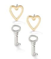 Heart and Key Stud Earrings