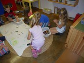 Starting our Green Eggs and Ham Mural