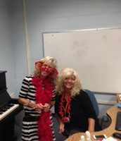 Ms. Beavers, art teacher, and Ms. Sereni, music teacher, show Ross spirit on the first day of the 2014-2015 school year!