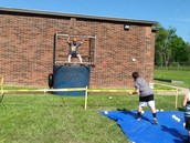 Mr. Davis Braves the Cold Water of the Dunking Booth. Brrr!