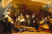 pilgrims having a talk