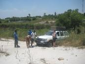 Getting unstuck in Zambian bush.