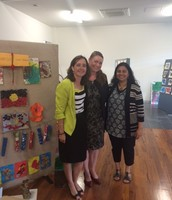 Helen Dunne, Director, Campus Community; visits our Art Show